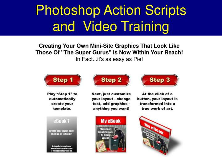 Photoshop action scripts and video training