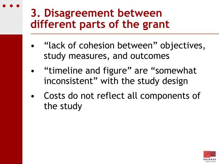 3. Disagreement between different parts of the grant