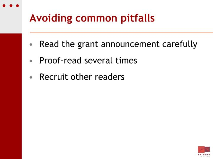 Avoiding common pitfalls