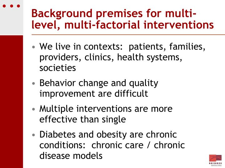 Background premises for multi-level, multi-factorial interventions