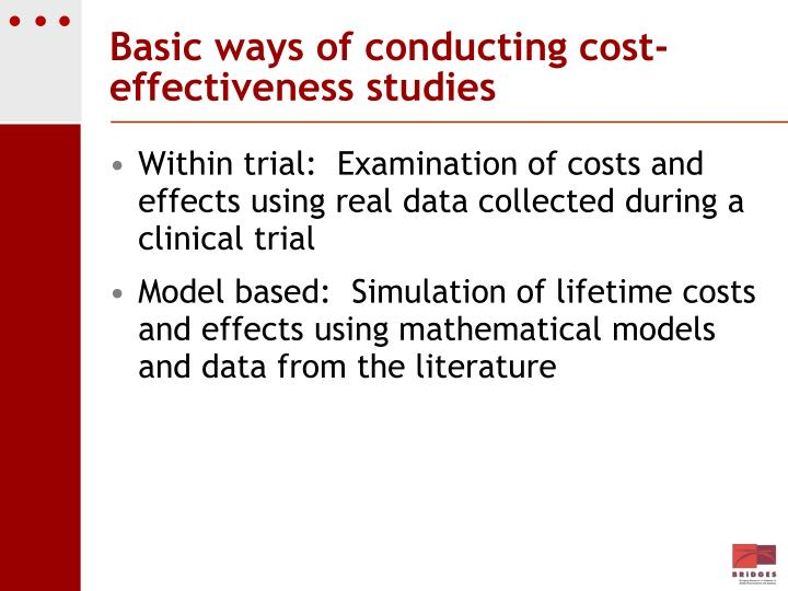 Basic ways of conducting cost-effectiveness studies