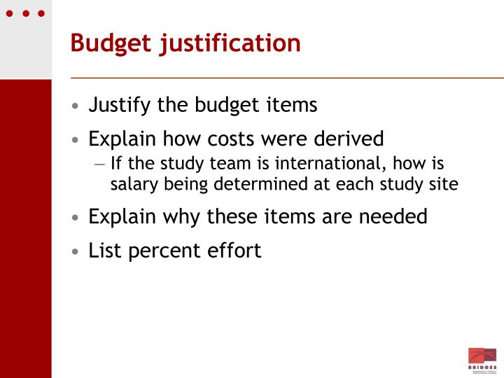 Budget justification