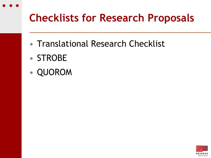 Checklists for Research Proposals