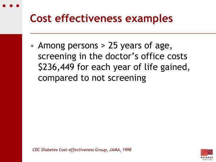 Cost effectiveness examples