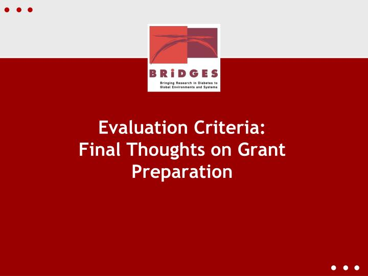Evaluation Criteria: