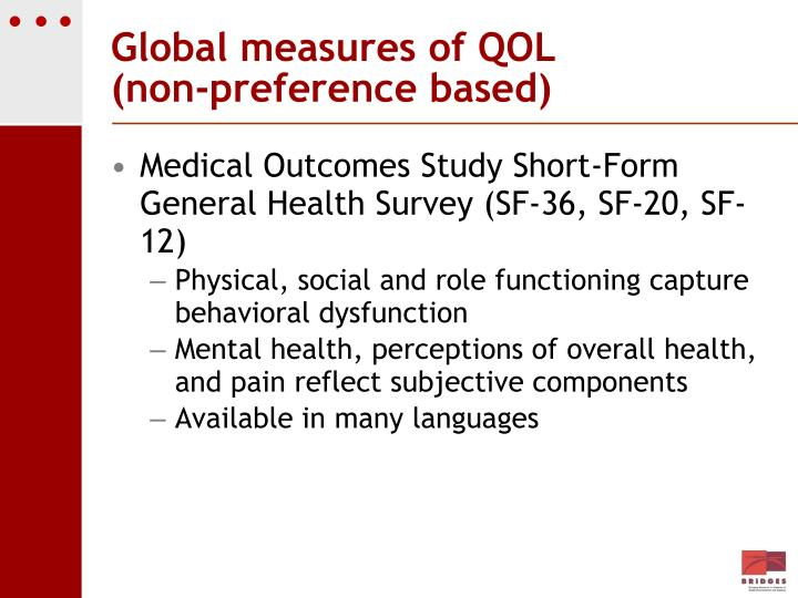 Global measures of QOL