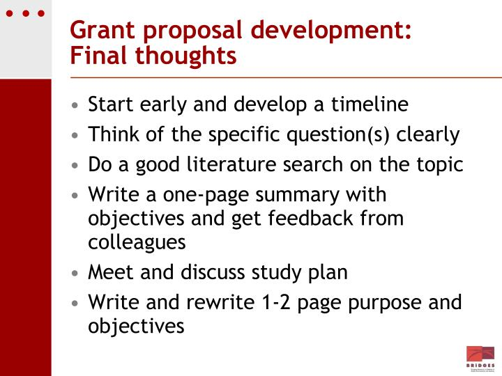 Grant proposal development: