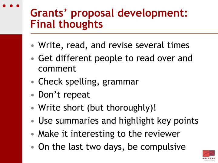 Grants' proposal development: