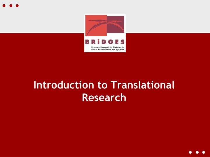 Introduction to translational research