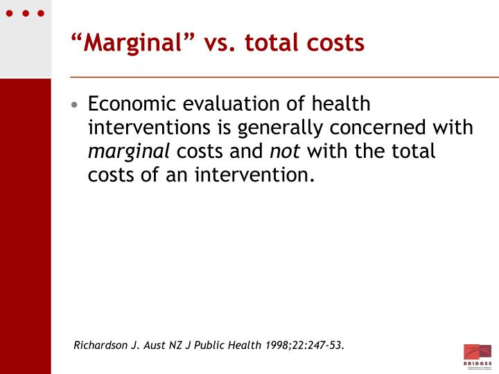 """Marginal"" vs. total costs"