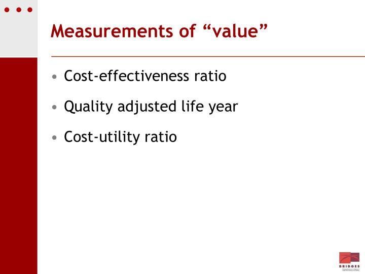 "Measurements of ""value"""