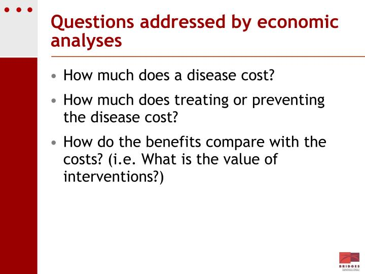Questions addressed by economic analyses