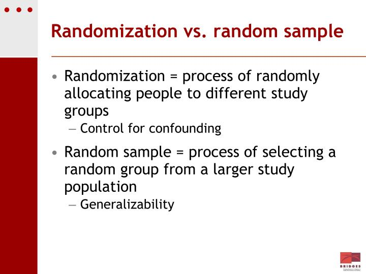Randomization vs. random sample