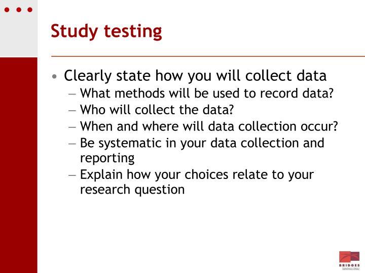 Study testing