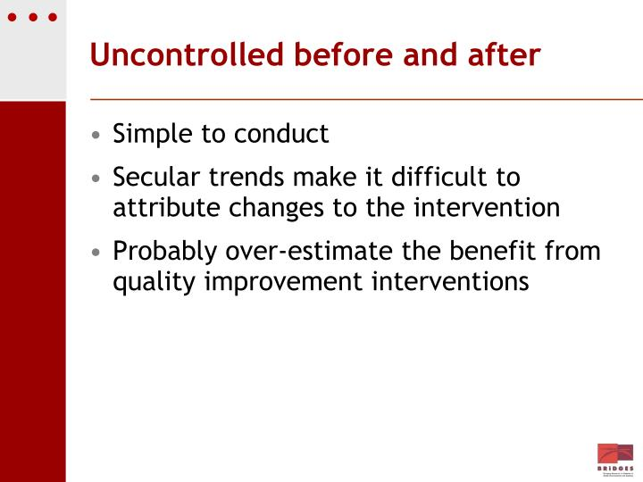 Uncontrolled before and after