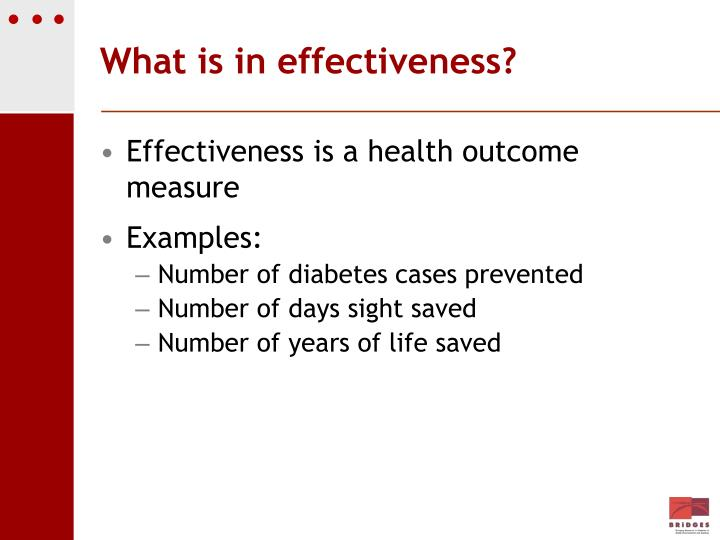 What is in effectiveness?