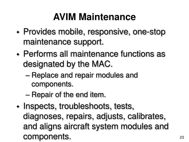 AVIM Maintenance