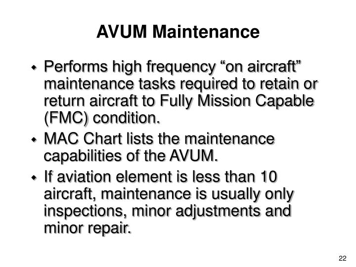 AVUM Maintenance