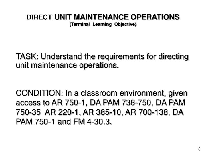 Direct unit maintenance operations terminal learning objective