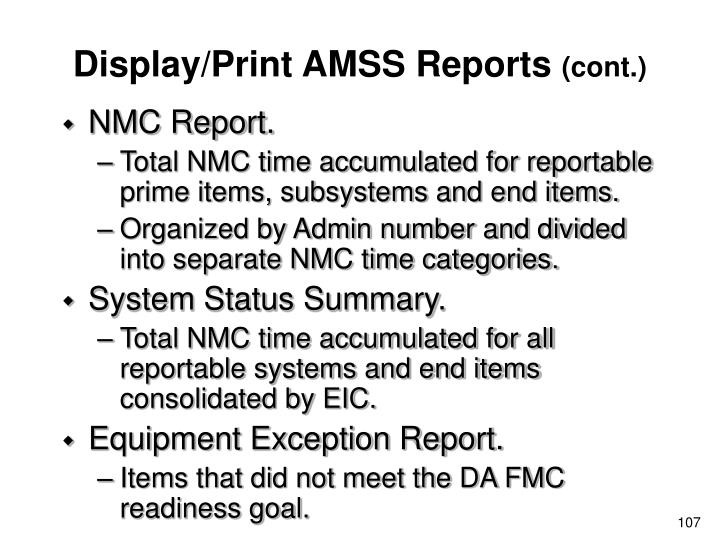 Display/Print AMSS Reports