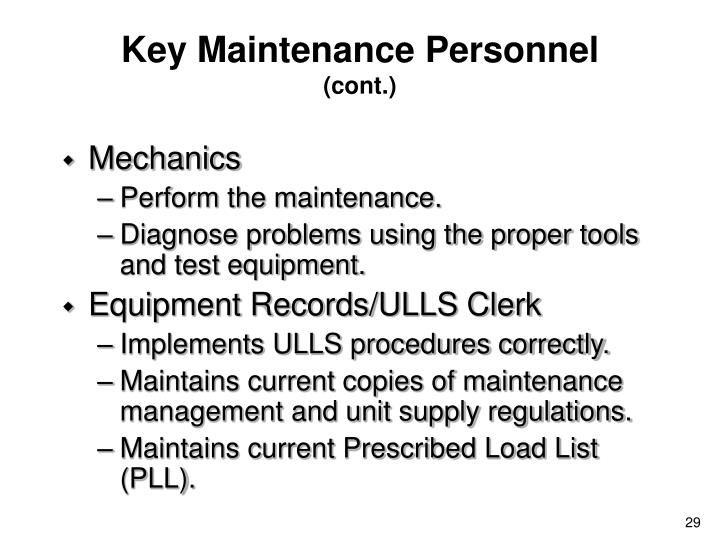 Key Maintenance Personnel