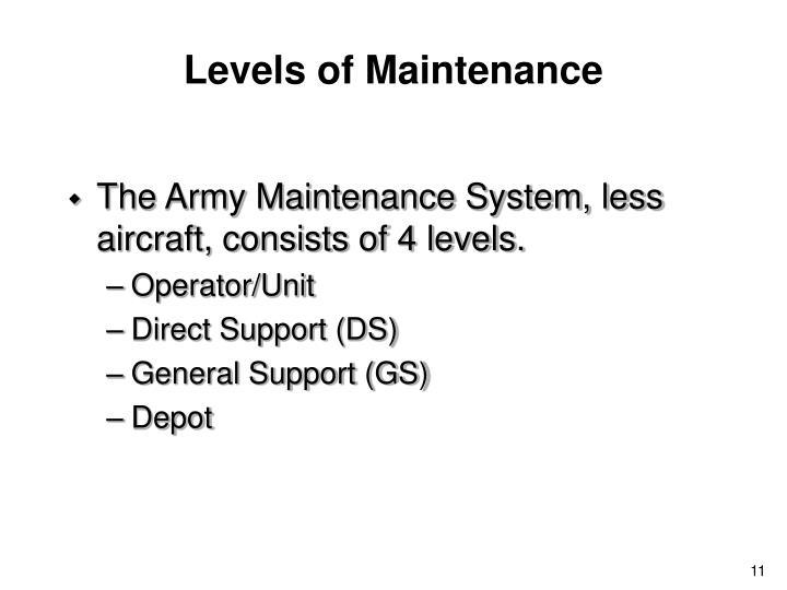 Levels of Maintenance