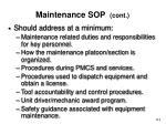 maintenance sop cont