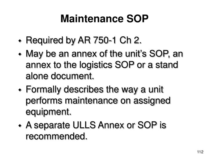 Maintenance SOP