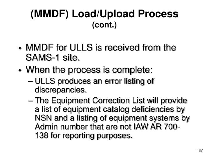 (MMDF) Load/Upload Process