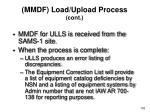 mmdf load upload process cont