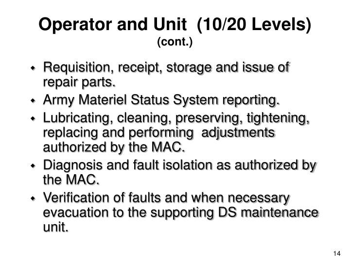 Operator and Unit  (10/20 Levels)