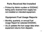 parts received not installed