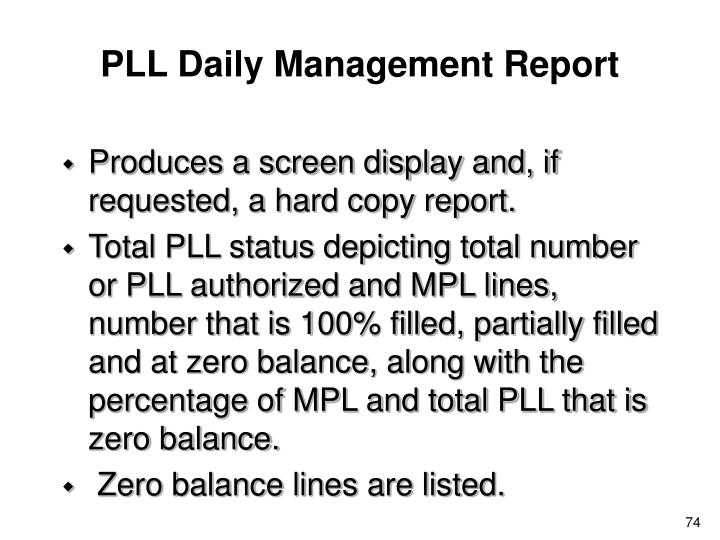 PLL Daily Management Report