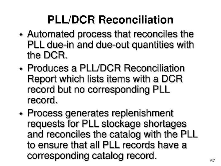 PLL/DCR Reconciliation