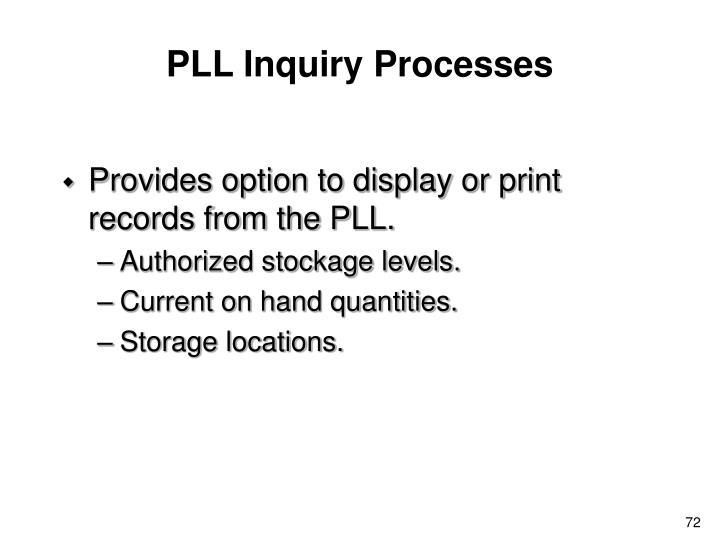PLL Inquiry Processes