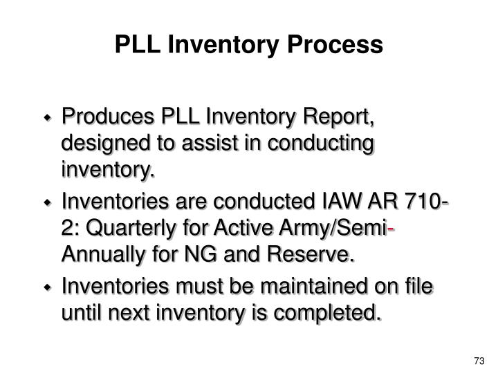 PLL Inventory Process