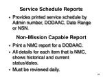 service schedule reports