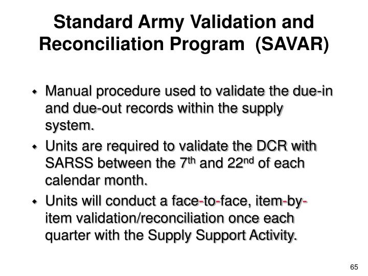 Standard Army Validation and Reconciliation Program  (SAVAR)