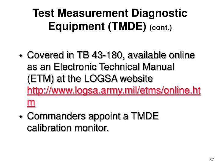 Test Measurement Diagnostic Equipment (TMDE)