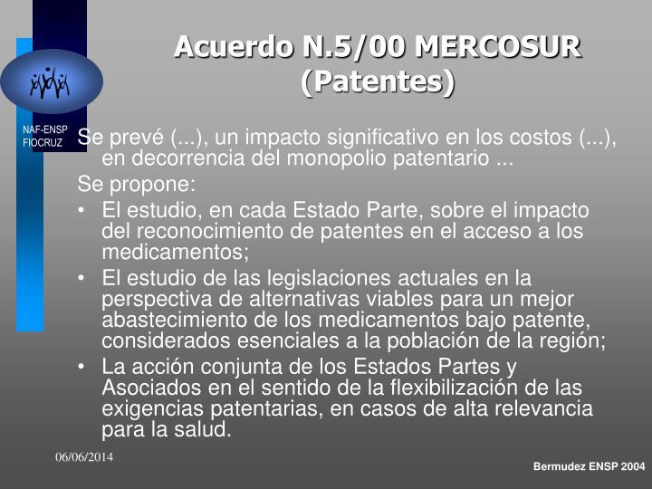 Acuerdo N.5/00 MERCOSUR (Patentes)