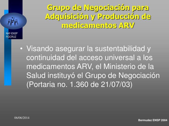 Grupo de Negociación para Adquisición y Producción de medicamentos ARV