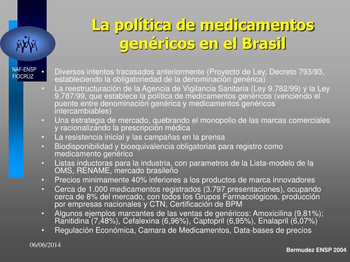 La política de medicamentos genéricos en el Brasil