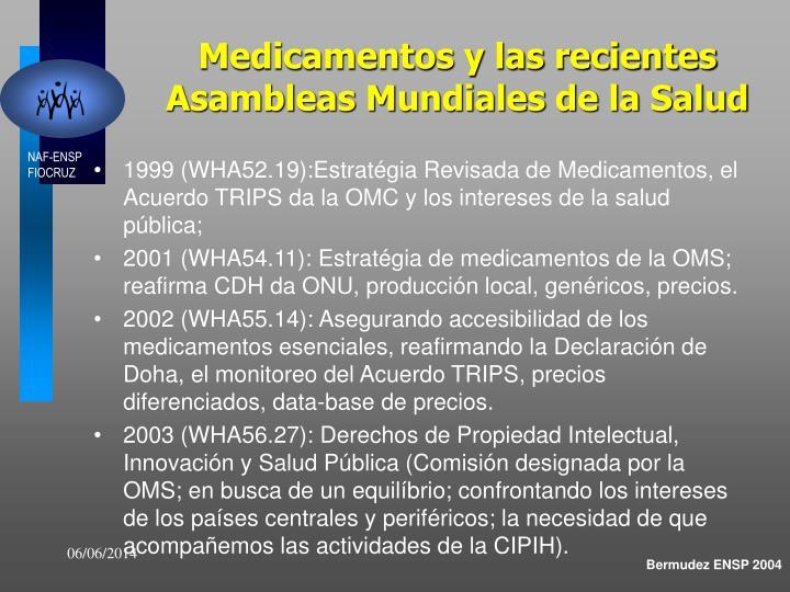 Medicamentos y las recientes Asambleas Mundiales de la Salud