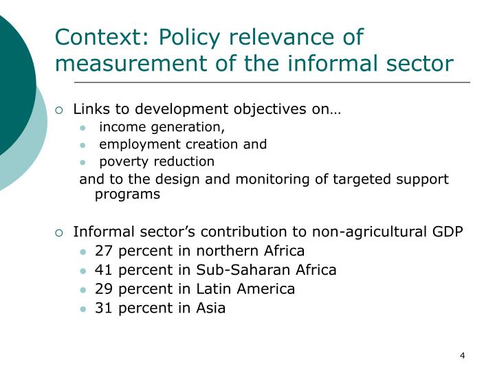 Context: Policy relevance of measurement of the informal sector
