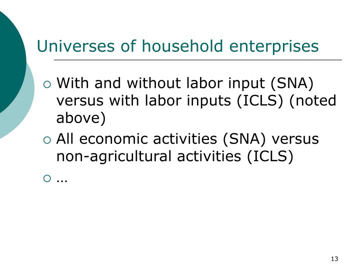 Universes of household enterprises