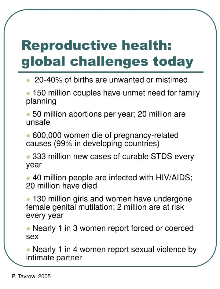 Reproductive health: global challenges today