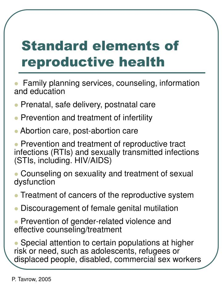 Standard elements of reproductive health