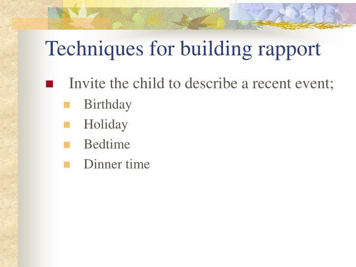 Techniques for building rapport