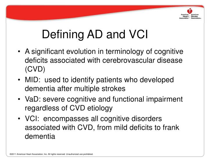 Defining AD and VCI