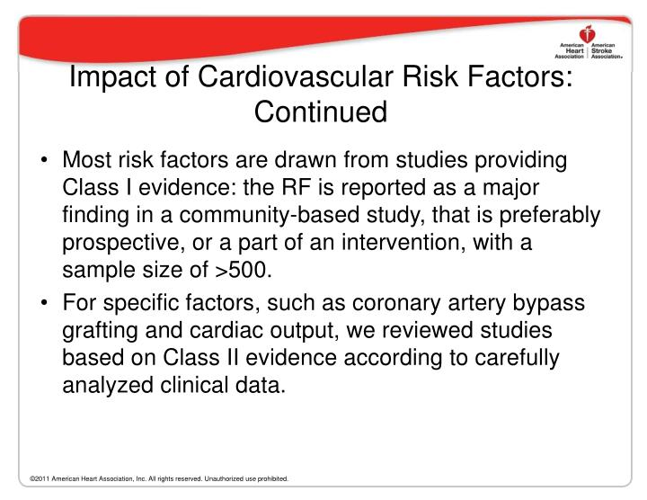 Impact of Cardiovascular Risk Factors: Continued